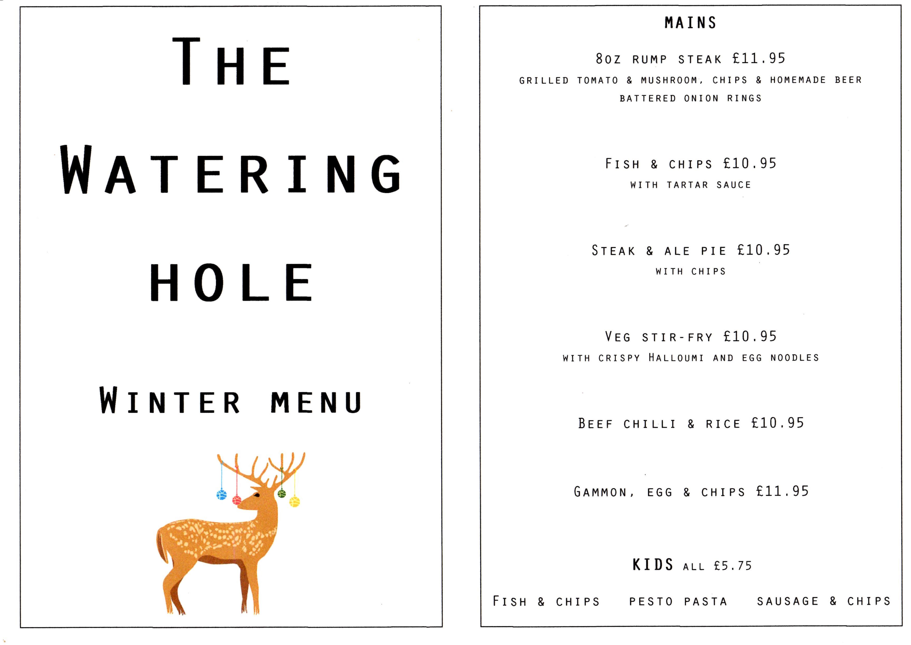 Watering Hole Christmas Menu